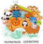 Stock vector illustration of noah s ark 105987995