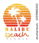 malibu beach text and palm... | Shutterstock .eps vector #1059880202