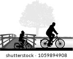 father and daughter on a bike.   Shutterstock .eps vector #1059894908