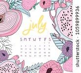 july month calendar. summer... | Shutterstock .eps vector #1059899936