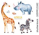 Stock photo africa watercolor set safari collection with giraffe rhino zebra stones watercolor cute animals 1059912182