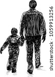 sketch of a man with his kid on ... | Shutterstock .eps vector #1059913256