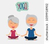 senior man and woman doing yoga ... | Shutterstock .eps vector #1059918902