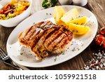 grilled steak  boiled potatoes... | Shutterstock . vector #1059921518