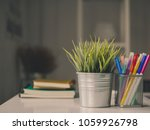 office desk workplace with... | Shutterstock . vector #1059926798