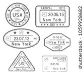 passport stamps. arrival to new ... | Shutterstock .eps vector #1059928682