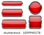 red buttons set. glass icons... | Shutterstock . vector #1059940178