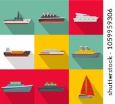sea vessel icons set. flat set... | Shutterstock . vector #1059959306
