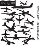 Boeing 707 Airplane Silhouettes