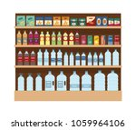 shelves with lot of snacks and... | Shutterstock .eps vector #1059964106
