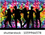 dancing people silhouettes.... | Shutterstock .eps vector #1059966578