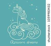 sleeping unicorn sitting on the ... | Shutterstock .eps vector #1059983432