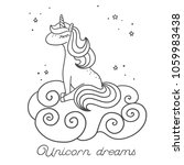 sleeping unicorn sitting on the ... | Shutterstock .eps vector #1059983438