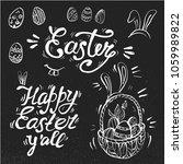 hand written easter phrases ... | Shutterstock .eps vector #1059989822