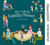 family eating dinner at home ... | Shutterstock .eps vector #1060009982