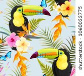 toucans and flowers | Shutterstock .eps vector #1060033775