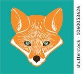 cute fox head with green... | Shutterstock .eps vector #1060053626