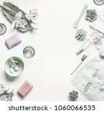 green cosmetic setting for... | Shutterstock . vector #1060066535