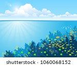 underwater background with... | Shutterstock .eps vector #1060068152