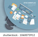 top view of office workplace... | Shutterstock .eps vector #1060073912