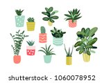 potted plants collection.... | Shutterstock .eps vector #1060078952