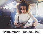 enjoying travel concept. young... | Shutterstock . vector #1060080152
