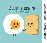 egg and bread couple cartoon... | Shutterstock .eps vector #1060084025