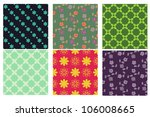 set of 6 seamless floral and... | Shutterstock .eps vector #106008665