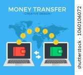 money transfer. two laptops... | Shutterstock .eps vector #1060106072