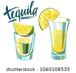 tequila shot with lime. vector... | Shutterstock .eps vector #1060108535