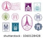 paris stamp set | Shutterstock .eps vector #1060128428