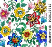 colorful floral seamless vector ... | Shutterstock .eps vector #1060139312