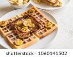 rustic sweet banana waffle on...   Shutterstock . vector #1060141502