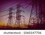 sun setting behind the... | Shutterstock . vector #1060147706
