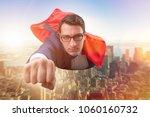 flying super hero over the city  | Shutterstock . vector #1060160732