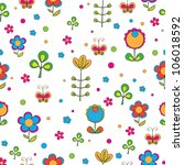 seamless texture with flowers | Shutterstock .eps vector #106018592