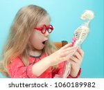 little funny blonde girl with... | Shutterstock . vector #1060189982