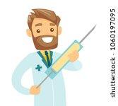 smiling caucasian white doctor... | Shutterstock .eps vector #1060197095