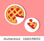 plates with strawberry pie ... | Shutterstock .eps vector #1060198052