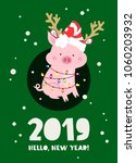 funny pig in a new year's... | Shutterstock .eps vector #1060203932