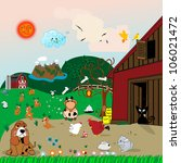 farm animals illustration with... | Shutterstock . vector #106021472