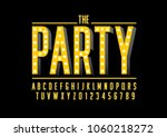 vector of modern party font and ... | Shutterstock .eps vector #1060218272