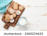 cookies and milk on white... | Shutterstock . vector #1060224632