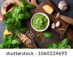 pesto sauce cooking. basil ... | Shutterstock . vector #1060224695