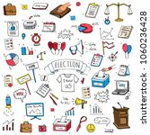 hand drawn doodle vote icons... | Shutterstock .eps vector #1060236428