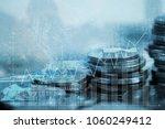 double exposure of coin stack... | Shutterstock . vector #1060249412
