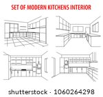 set of kitchens sketch modern... | Shutterstock .eps vector #1060264298