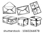 letters  parcels  mail boxes.... | Shutterstock .eps vector #1060266878
