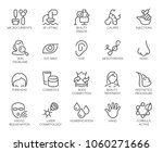 Cosmetology line icons set. 20 outline pictograms isolated. Beauty therapy, bodycare, healthcare, wellness treatment linear symbols. Correction, rejuvenation, anti-aging procedure logo. Vector graphic   Shutterstock vector #1060271666