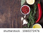 colorful herbs and spices... | Shutterstock . vector #1060272476